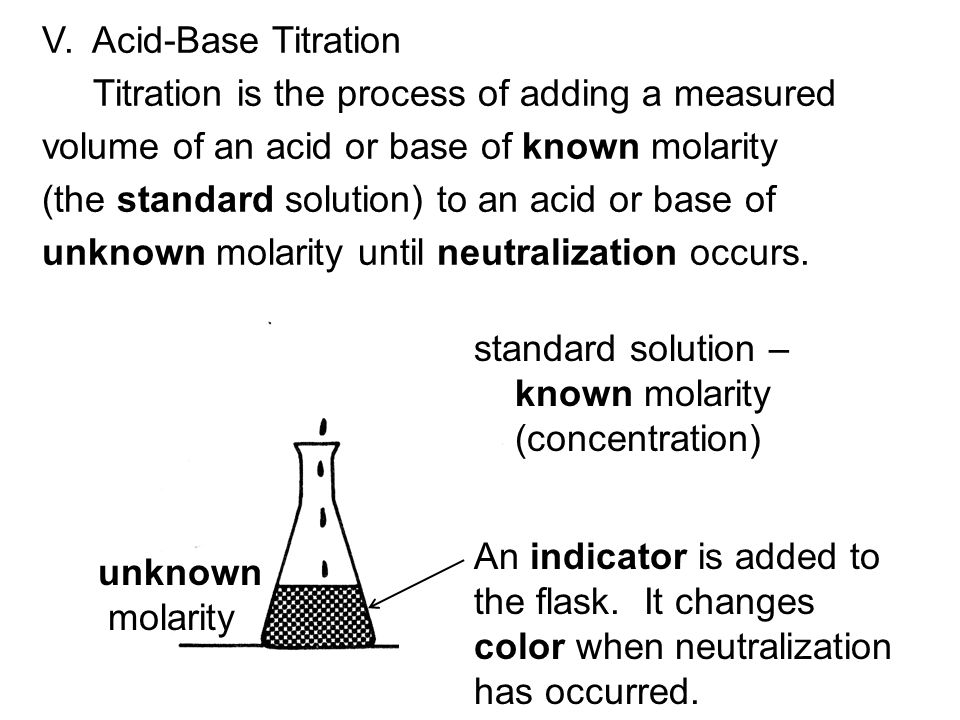 Remember: acid + base  water +salt The net ionic equation of what really reacts is: H + + OH -  H 2 O Neutralization occurs when the number of moles of = number of moles of H + from the acid OH - from the base