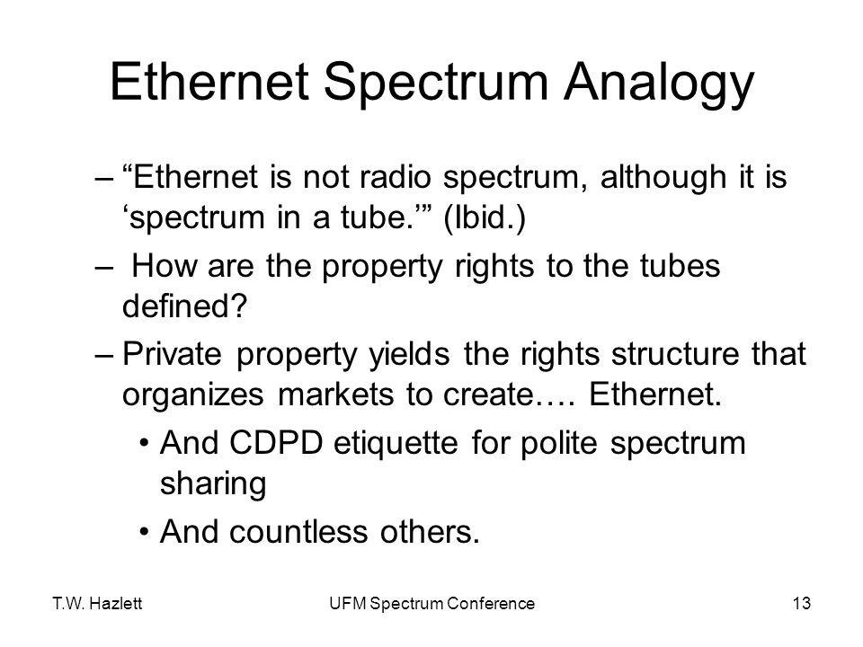 "T.W. HazlettUFM Spectrum Conference13 Ethernet Spectrum Analogy –""Ethernet is not radio spectrum, although it is 'spectrum in a tube.'"" (Ibid.) – How"