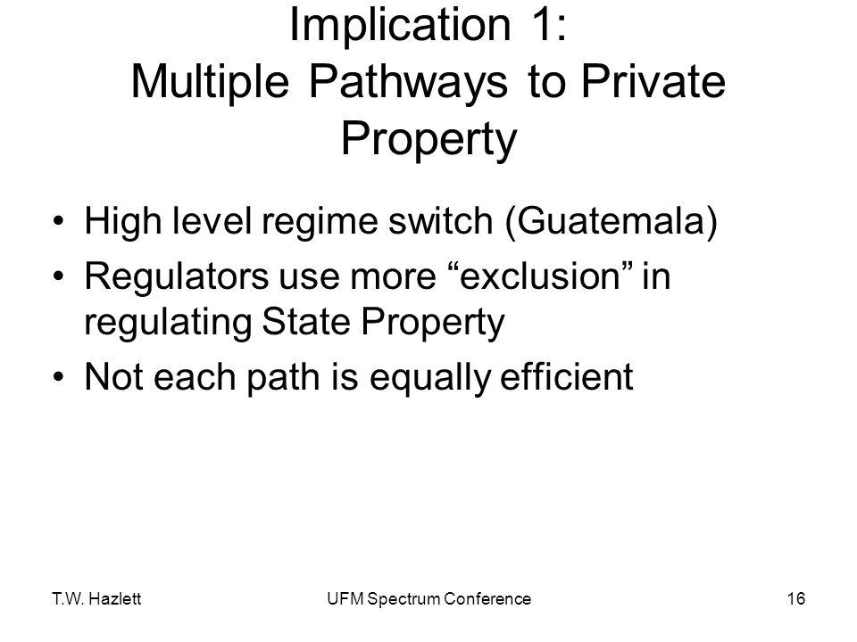 "T.W. HazlettUFM Spectrum Conference16 Implication 1: Multiple Pathways to Private Property High level regime switch (Guatemala) Regulators use more ""e"