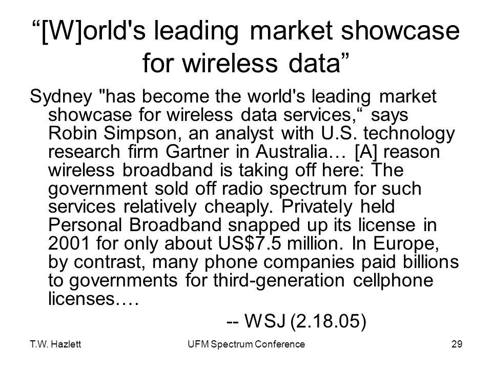 "T.W. HazlettUFM Spectrum Conference29 ""[W]orld's leading market showcase for wireless data"" Sydney"
