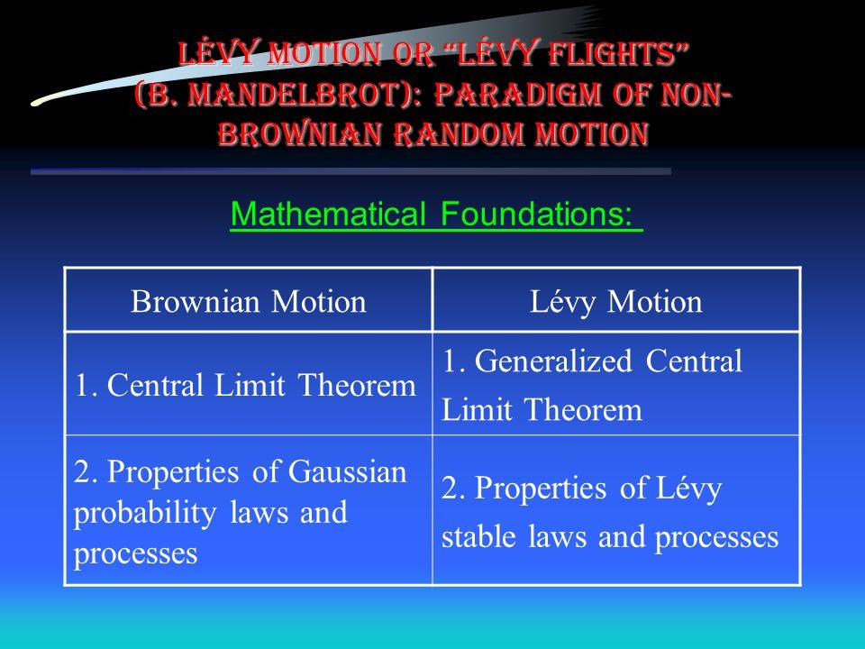 "LÉVY motion or ""LÉVY flights"" (B. Mandelbrot): paradigm of non- brownian random motion Brownian MotionLévy Motion 1. Central Limit Theorem 1. Generali"