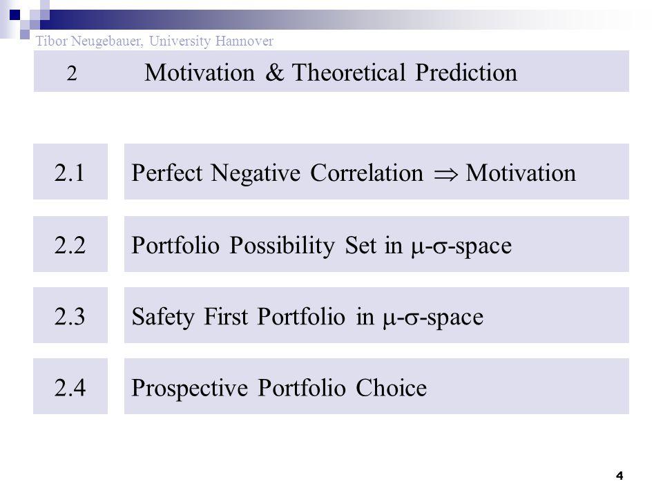 4 Tibor Neugebauer, University Hannover Motivation & Theoretical Prediction 2 2.1 Perfect Negative Correlation  Motivation 2.2 Portfolio Possibility Set in  -  -space 2.3 Safety First Portfolio in  -  -space 2.4Prospective Portfolio Choice