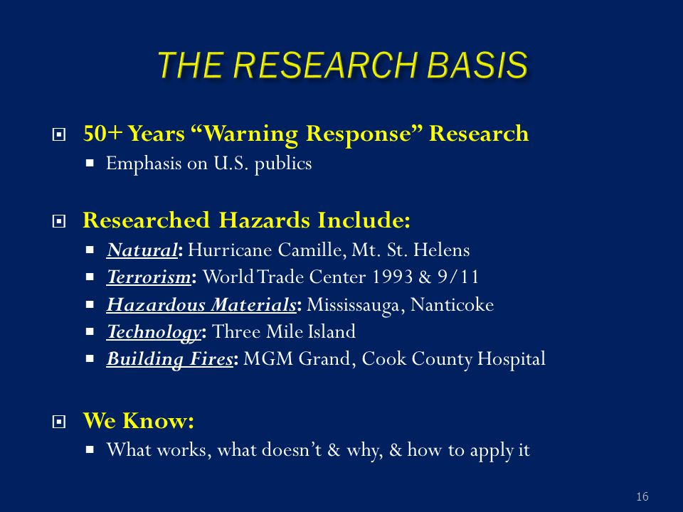 " 50+ Years ""Warning Response"" Research  Emphasis on U.S. publics  Researched Hazards Include:  Natural: Hurricane Camille, Mt. St. Helens  Terror"