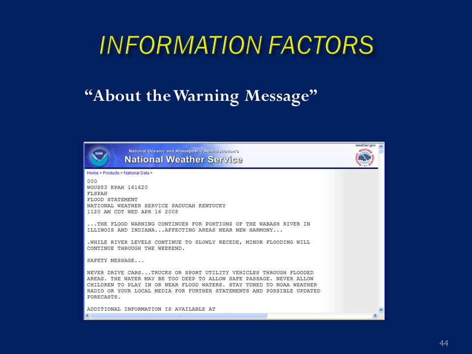 """About the Warning Message"" 44"