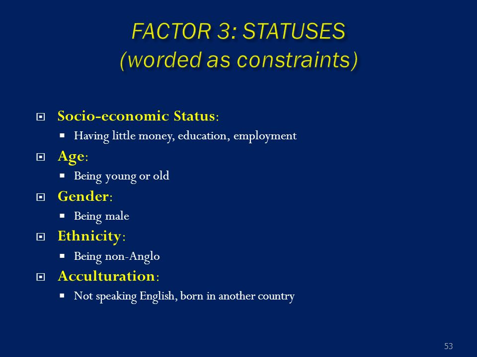  Socio-economic Status:  Having little money, education, employment  Age:  Being young or old  Gender:  Being male  Ethnicity:  Being non-Angl