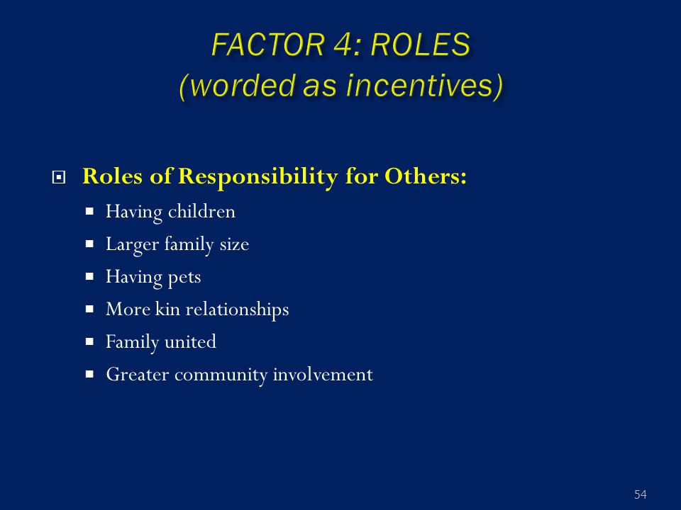  Roles of Responsibility for Others:  Having children  Larger family size  Having pets  More kin relationships  Family united  Greater communit