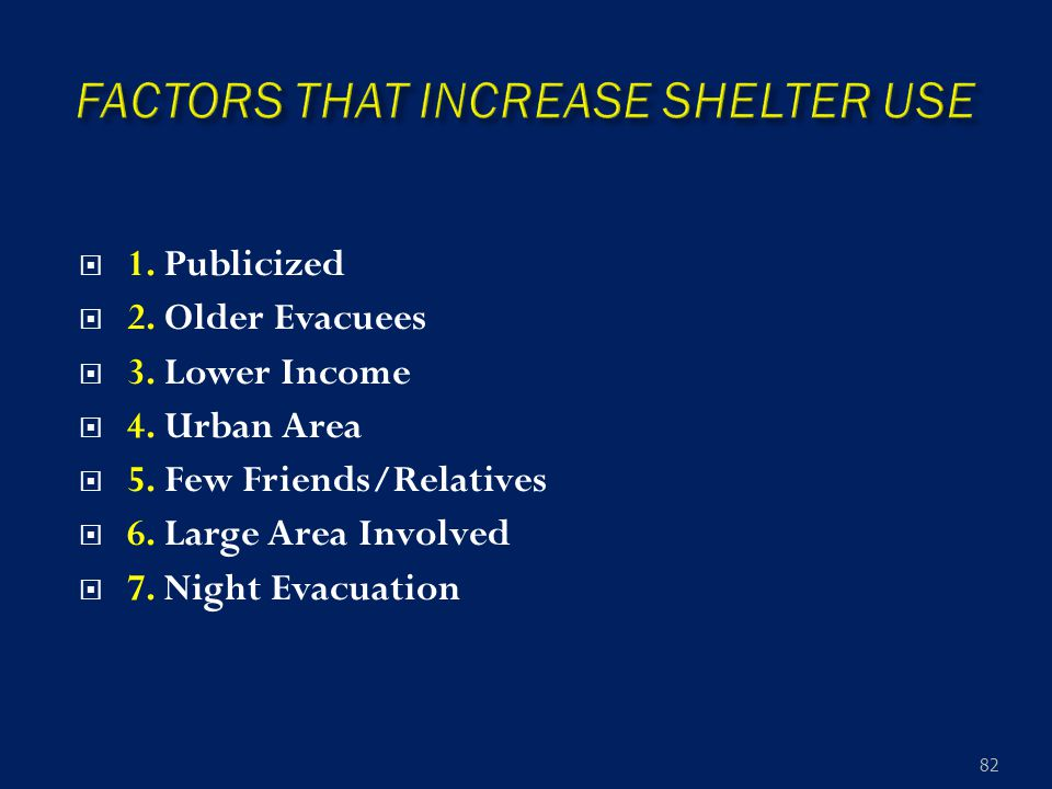  1. Publicized  2. Older Evacuees  3. Lower Income  4.