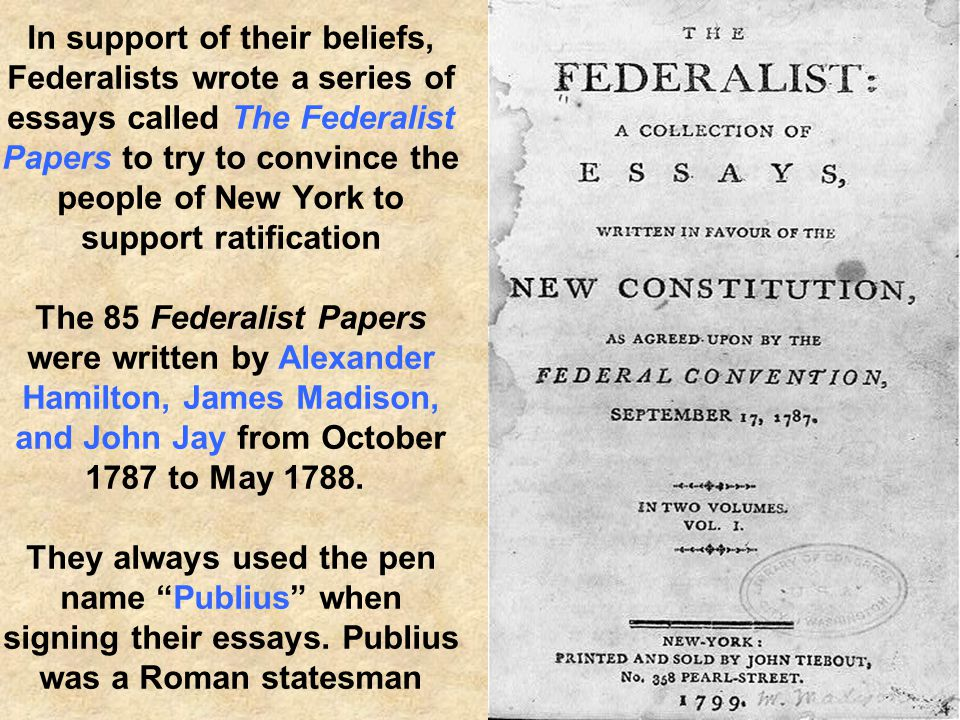 The Federalists' ideas about strong national government were included in the Constitution Separation of Powers System of Checks and Balances System of Checks and Balances Shared Powers between State and Federal Government Shared Powers between State and Federal Government