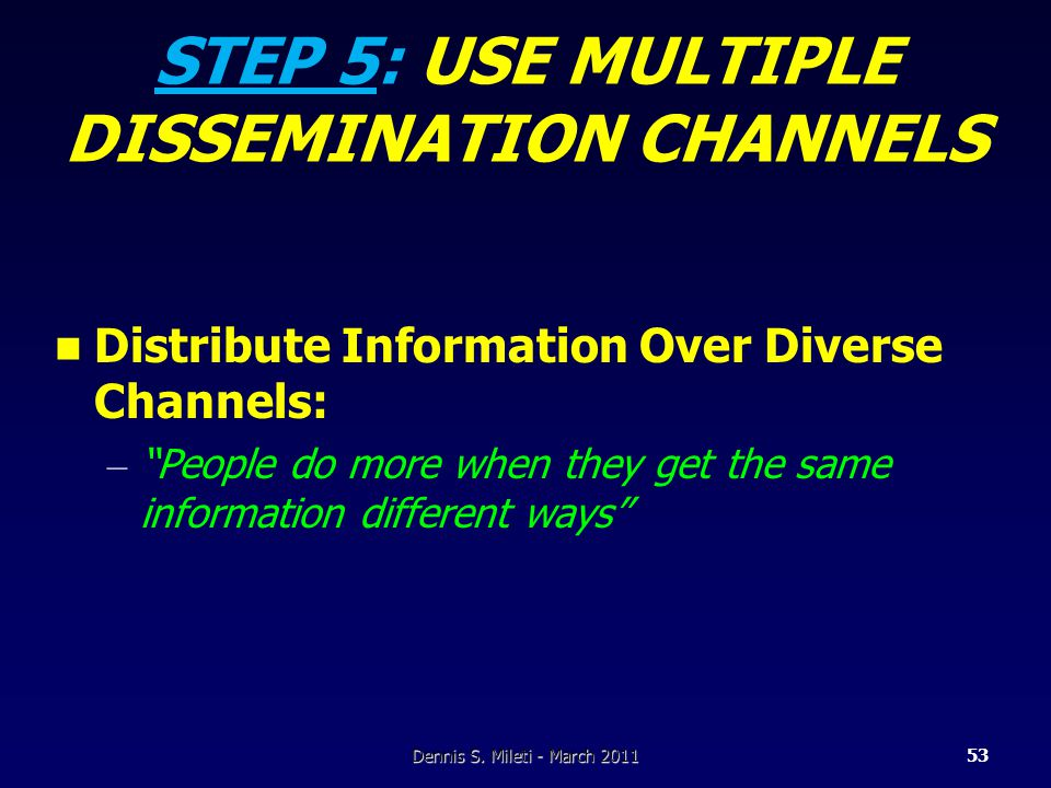 STEP 5: USE MULTIPLE DISSEMINATION CHANNELS Distribute Information Over Diverse Channels: – People do more when they get the same information different ways Dennis S.