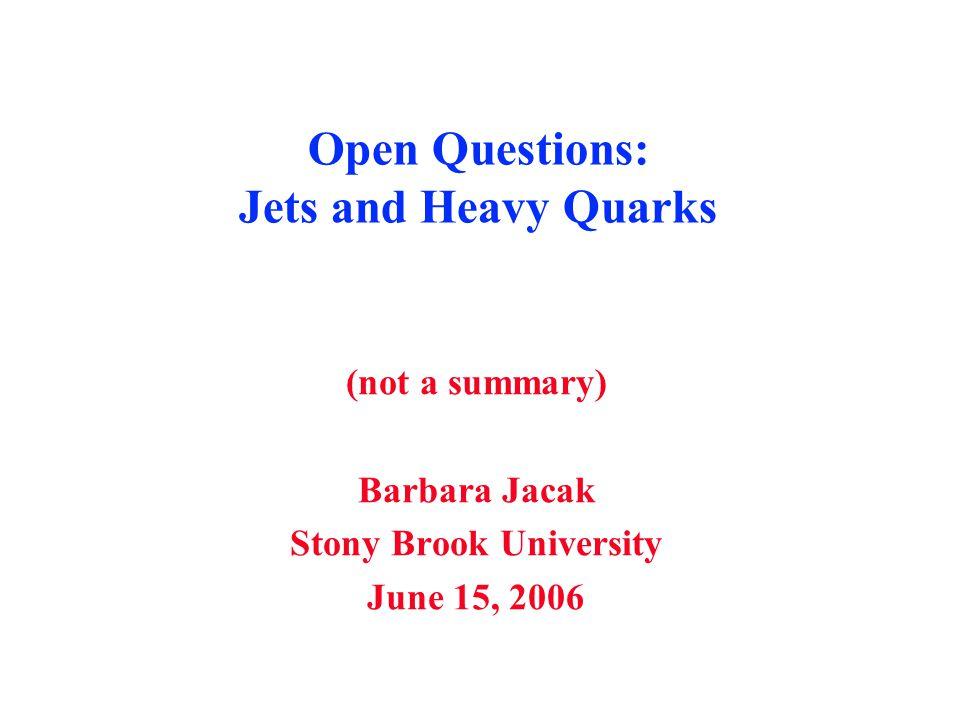 Open Questions: Jets and Heavy Quarks (not a summary) Barbara Jacak Stony Brook University June 15, 2006