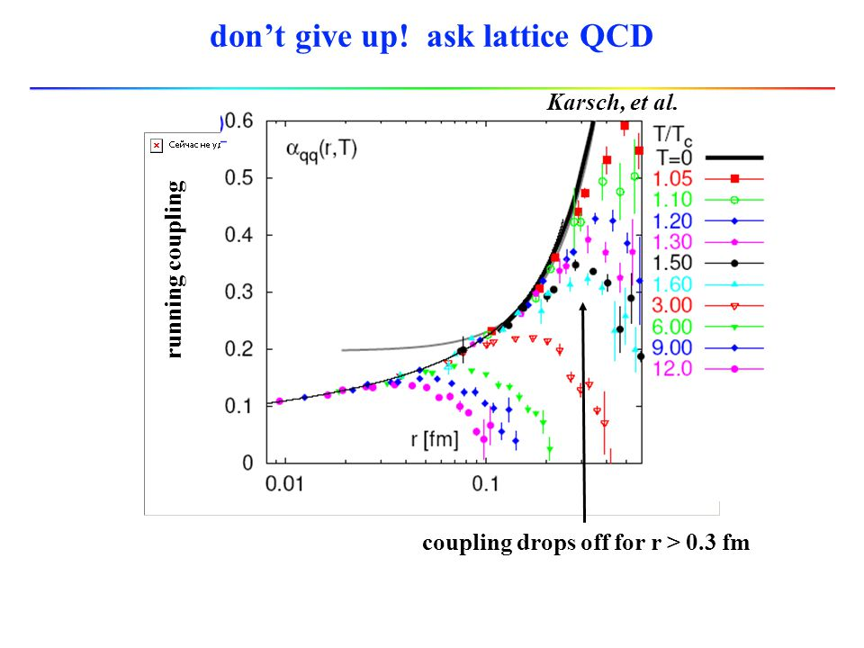 don't give up! ask lattice QCD running coupling coupling drops off for r > 0.3 fm Karsch, et al.