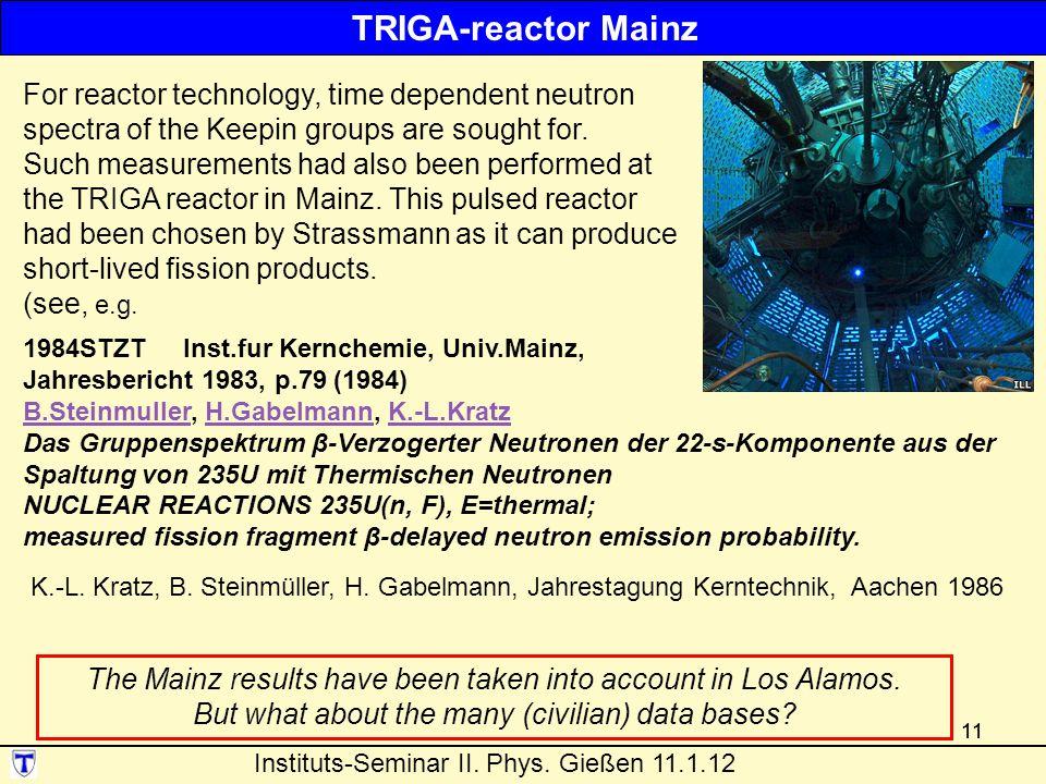11 1984STZT Inst.fur Kernchemie, Univ.Mainz, Jahresbericht 1983, p.79 (1984) B.SteinmullerB.Steinmuller, H.Gabelmann, K.-L.KratzH.GabelmannK.-L.Kratz Das Gruppenspektrum β-Verzogerter Neutronen der 22-s-Komponente aus der Spaltung von 235U mit Thermischen Neutronen NUCLEAR REACTIONS 235U(n, F), E=thermal; measured fission fragment β-delayed neutron emission probability.