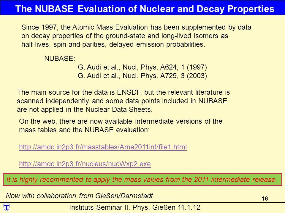 16 NUBASE: G.Audi et al., Nucl. Phys. A624, 1 (1997) G.