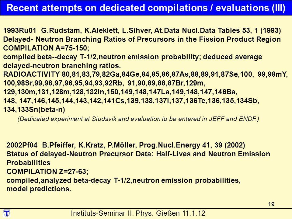 19 1993Ru01 G.Rudstam, K.Aleklett, L.Sihver, At.Data Nucl.Data Tables 53, 1 (1993) Delayed- Neutron Branching Ratios of Precursors in the Fission Product Region COMPILATION A=75-150; compiled beta--decay T-1/2,neutron emission probability; deduced average delayed-neutron branching ratios.