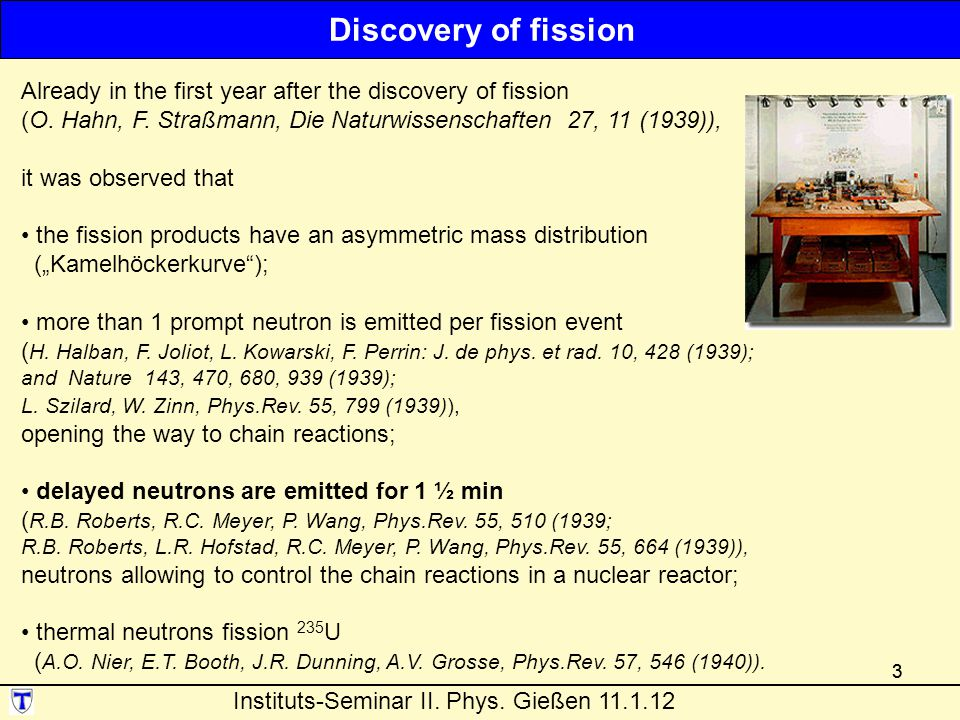 33 Already in the first year after the discovery of fission (O.