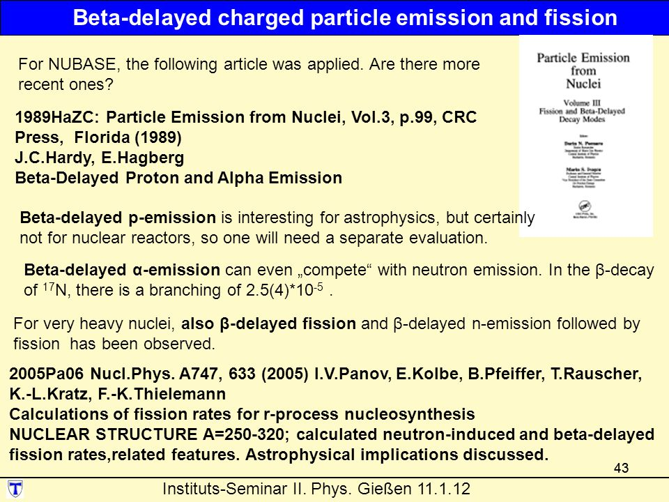 43 1989HaZC: Particle Emission from Nuclei, Vol.3, p.99, CRC Press, Florida (1989) J.C.Hardy, E.Hagberg Beta-Delayed Proton and Alpha Emission Beta-delayed charged particle emission and fission 2005Pa06 Nucl.Phys.