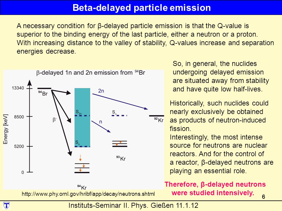 666 http://www.phy.ornl.gov/hribf/app/decay/neutrons.shtml A necessary condition for β-delayed particle emission is that the Q-value is superior to the binding energy of the last particle, either a neutron or a proton.