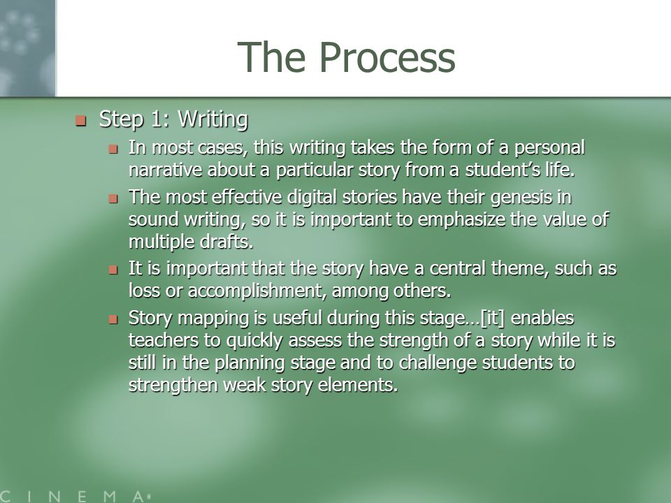 The Process Step 1: Writing Step 1: Writing In most cases, this writing takes the form of a personal narrative about a particular story from a student's life.