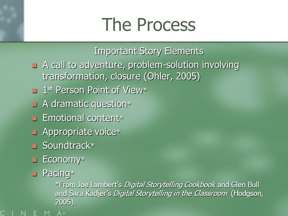 The Process Important Story Elements A call to adventure, problem-solution involving transformation, closure (Ohler, 2005) A call to adventure, problem-solution involving transformation, closure (Ohler, 2005) 1 st Person Point of View * 1 st Person Point of View * A dramatic question * A dramatic question * Emotional content * Emotional content * Appropriate voice * Appropriate voice * Soundtrack * Soundtrack * Economy * Economy * Pacing * Pacing * *From Joe Lambert's Digital Storytelling Cookbook and Glen Bull and Sara Kadjer's Digital Storytelling in the Classroom (Hodgson, 2005).