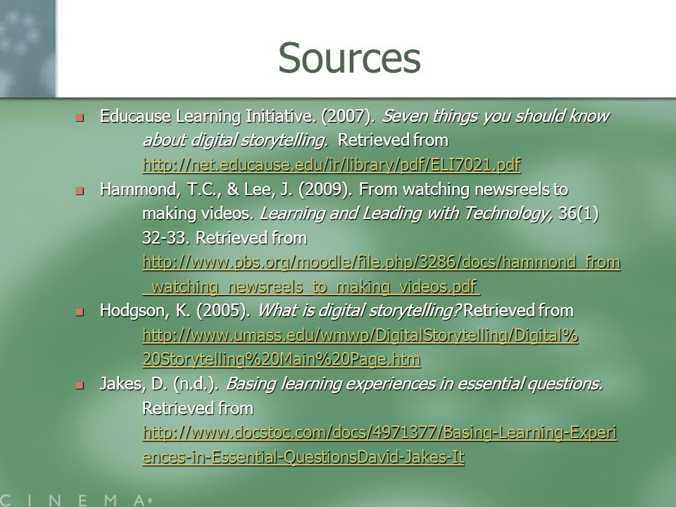 Sources Educause Learning Initiative. (2007).