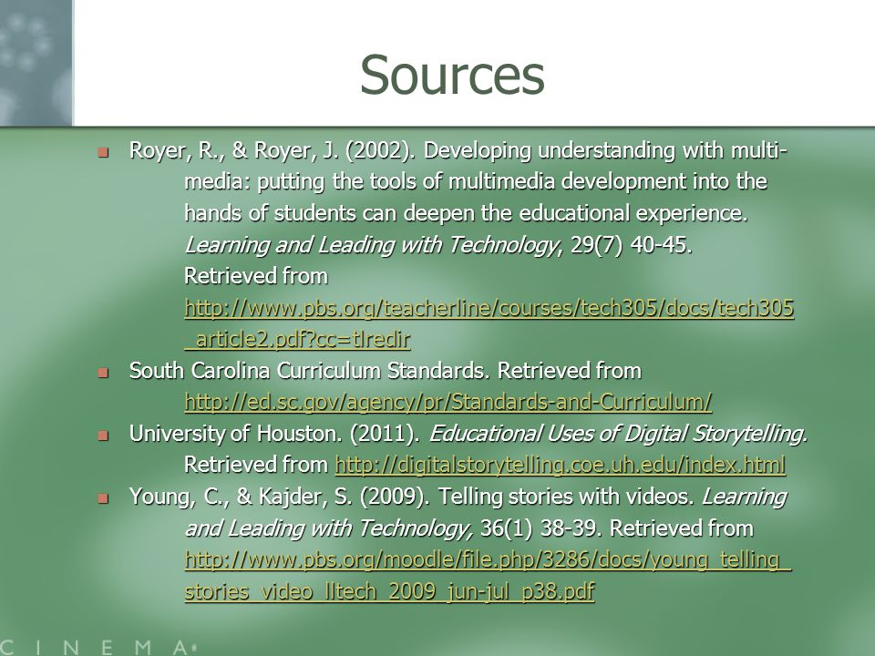 Sources Royer, R., & Royer, J. (2002). Developing understanding with multi- Royer, R., & Royer, J.