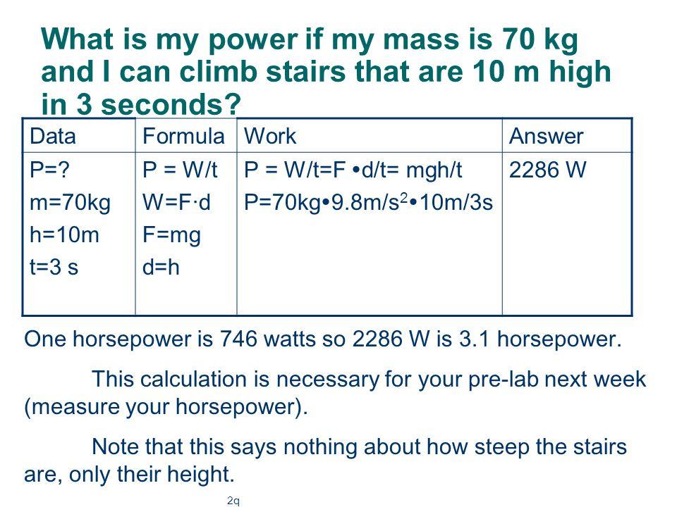 Units of power One watt is one joule per second. Watt = joule/sec 5 watts = 5 w