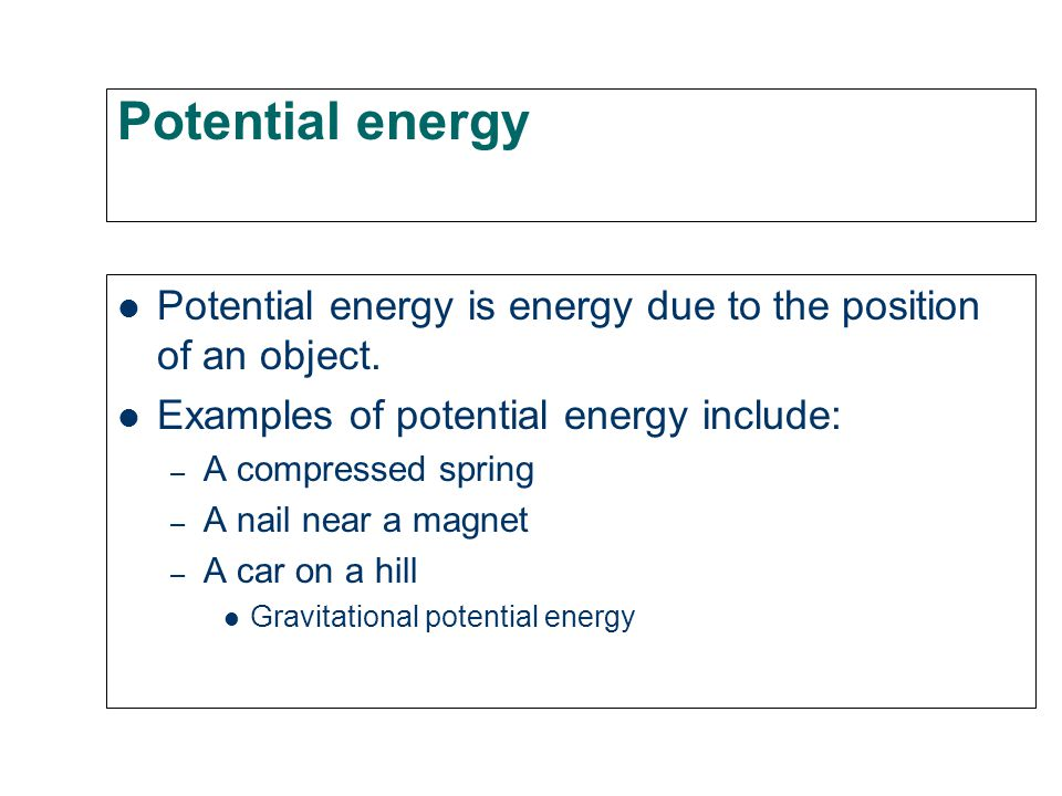 If I have a lot of energy I can do a lot of work. Energy is the ability (capacity) to do work. Energy comes in many forms: – Heat energy – Chemical en