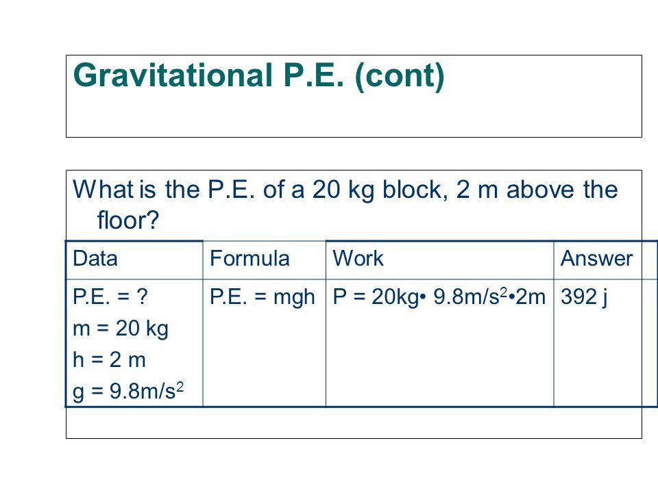 Gravitational P.E. (cont) P.E.