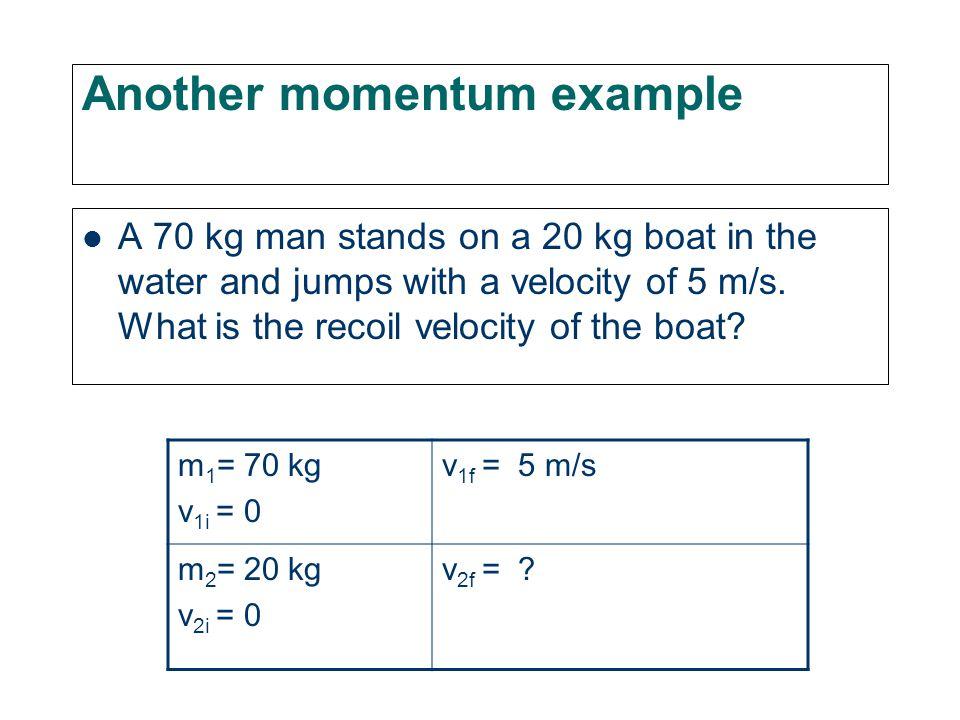 General equation m 1 v 1i + m 2 v 2i = m 1 v 1f + m 2 v 2f In our special case (v 1f = v 2f = v f ) m 1 v 1i + m 2 v 2i = (m 1 + m 2 )v f 500 kg20 m/s+ 2000 kg(-10 m/s)=(500+2000)kgv f 10,000 kg m/s-20,000 kg m/s = 2500 kg v f -10,000 kg m/s = 2500 kg v f v f = -10,000 kg m/s 2500 kg v f = -4 m/s Direction is that of the truck