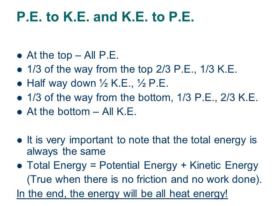 Energy conservation- Changing P.E. to K.E. and K.E. to P.E. - - - - Case 1: A falling object 100% P.E at the top 90% P.E. 10%K.E. 80% P.E. 20%K.E 70%