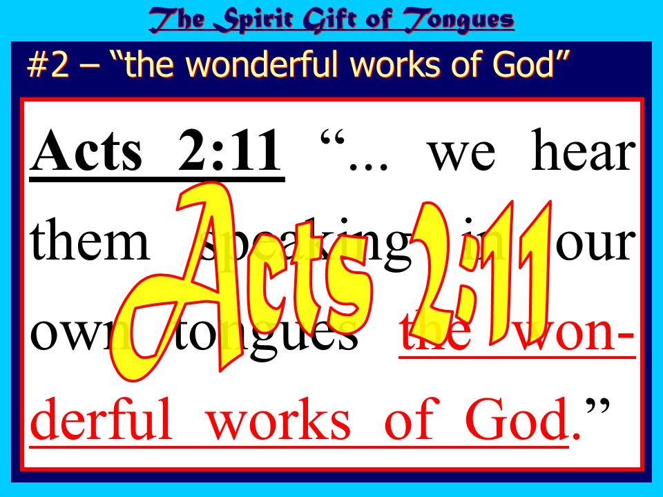 What the worshippers knew that they were hearing when the apostles spoke with tongues was surely a contributing factor to the success of the day.