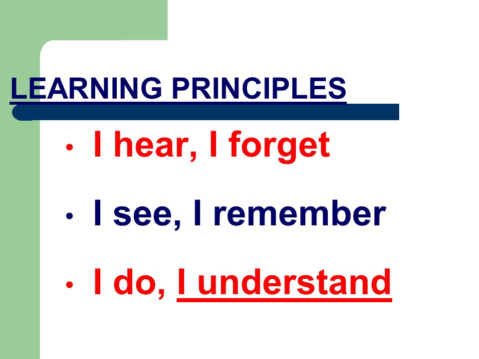 LEARNING PRINCIPLES I hear, I forget I see, I remember I do, I understand