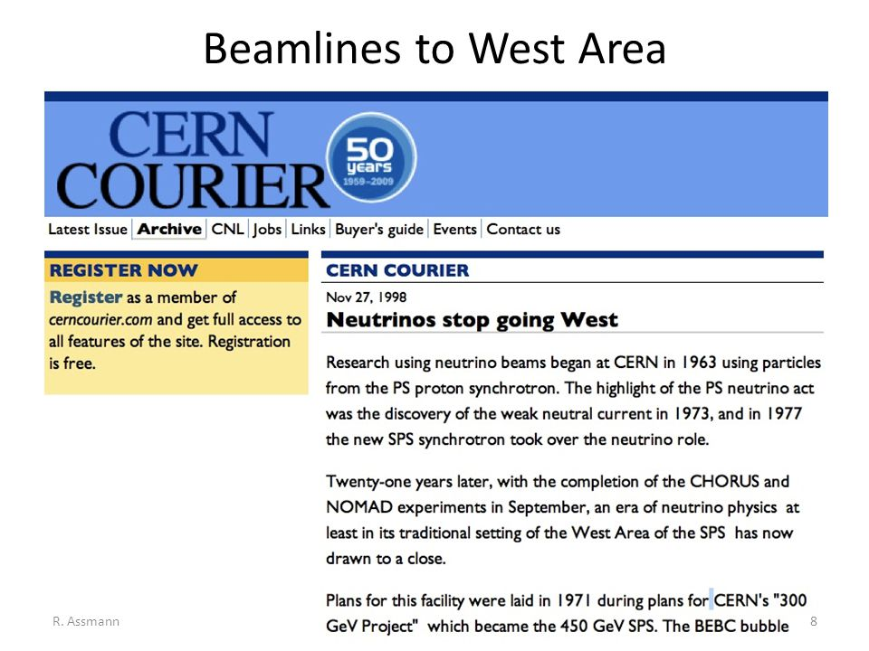 Beamlines to West Area R. Assmann8
