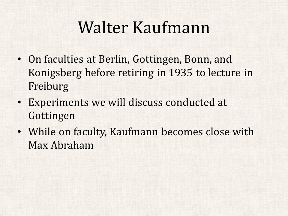 1914: The Issue is Settled Refinement of Bucherer's method was employed by Neumann to obtain 26 new data points for.39152<β<.80730 The superiority of Lorentz's theory over Abraham's was clear