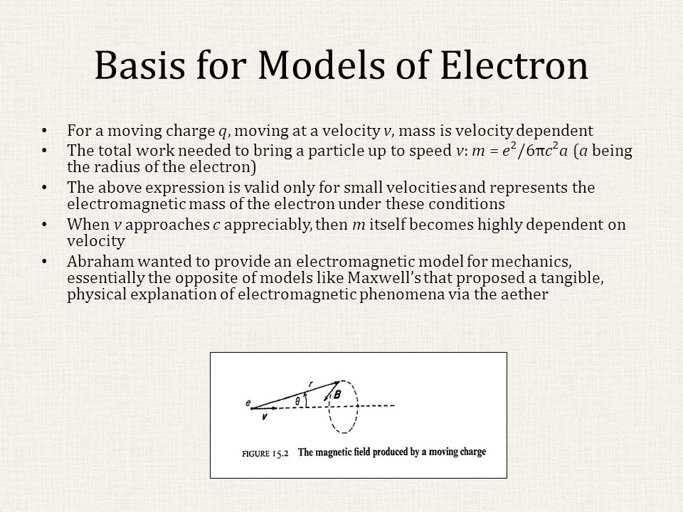 Basis for Models of Electron For a moving charge q, moving at a velocity v, mass is velocity dependent The total work needed to bring a particle up to speed v: m = e²/6πc²a (a being the radius of the electron) The above expression is valid only for small velocities and represents the electromagnetic mass of the electron under these conditions When v approaches c appreciably, then m itself becomes highly dependent on velocity Abraham wanted to provide an electromagnetic model for mechanics, essentially the opposite of models like Maxwell's that proposed a tangible, physical explanation of electromagnetic phenomena via the aether