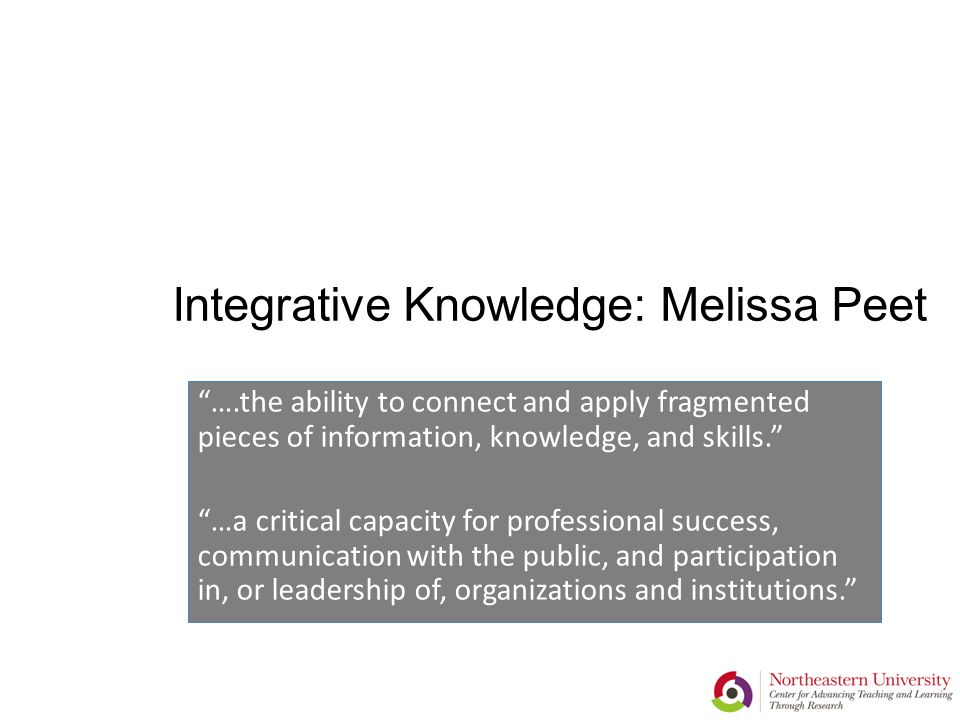 Integrative Knowledge: Melissa Peet ….the ability to connect and apply fragmented pieces of information, knowledge, and skills. …a critical capacity for professional success, communication with the public, and participation in, or leadership of, organizations and institutions.