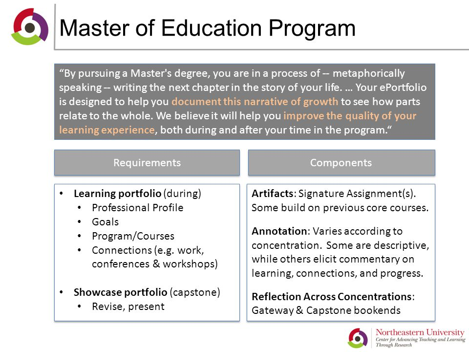 Master of Education Program By pursuing a Master s degree, you are in a process of -- metaphorically speaking -- writing the next chapter in the story of your life.