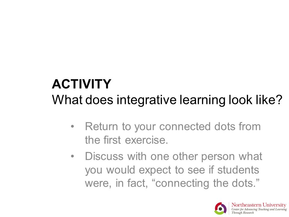 ACTIVITY What does integrative learning look like.