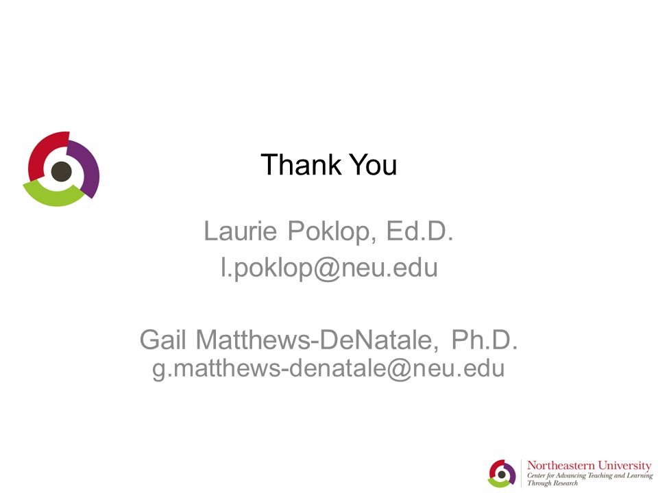 Thank You Laurie Poklop, Ed.D. l.poklop@neu.edu Gail Matthews-DeNatale, Ph.D.