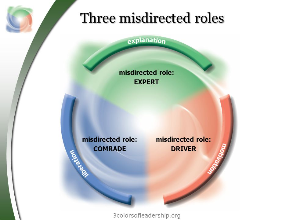 Three misdirected roles 3colorsofleadership.org misdirected role: COMRADE misdirected role: DRIVER misdirected role: EXPERT