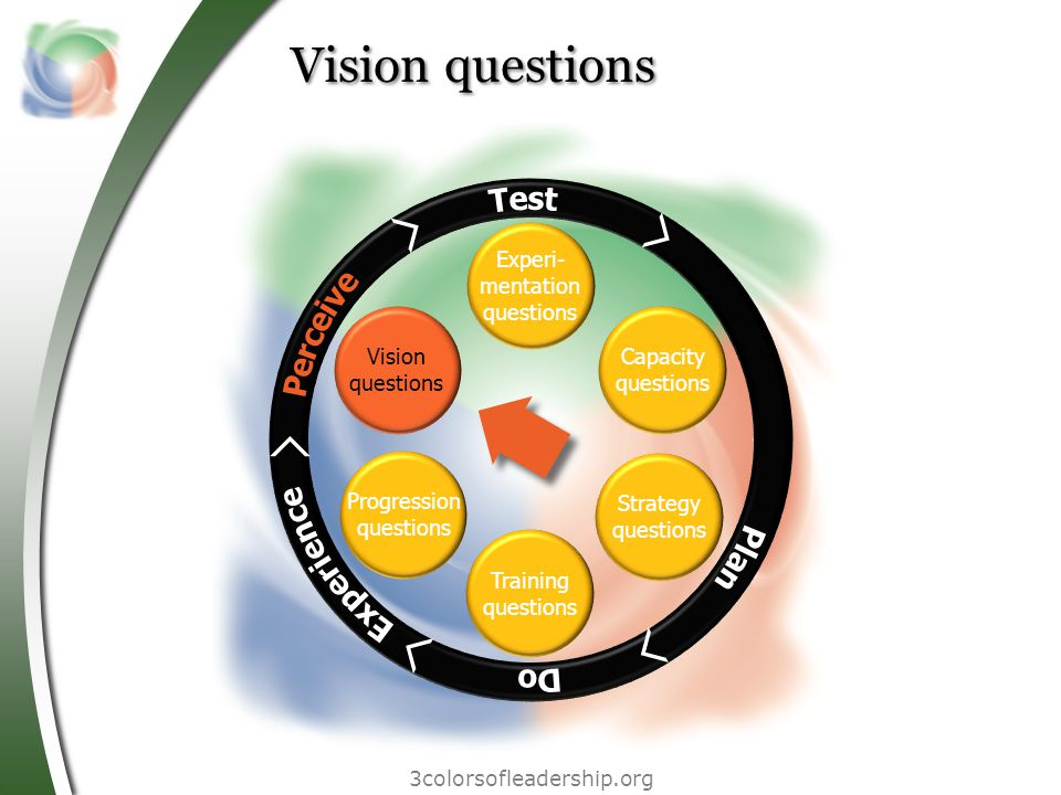 3colorsofleadership.org Vision questions Experi- mentation questions Vision questions Progression questions Training questions Strategy questions Capacity questions