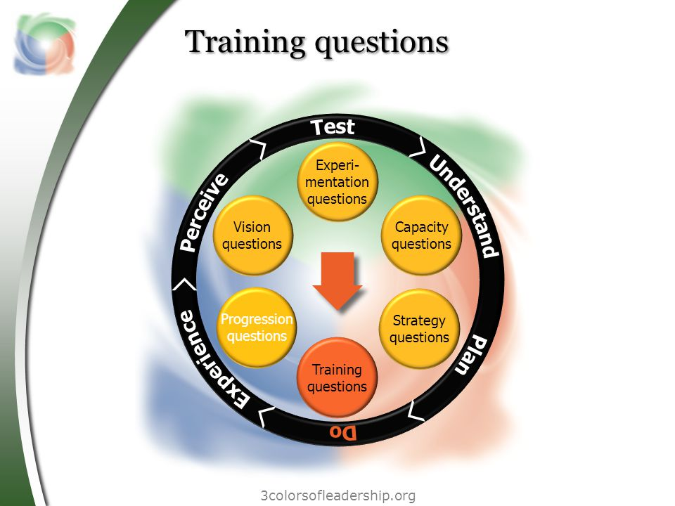 3colorsofleadership.org Training questions Vision questions Progression questions Experi- mentation questions Capacity questions Strategy questions Training questions