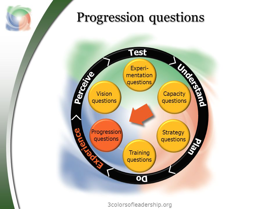 3colorsofleadership.org Progression questions Vision questions Experi- mentation questions Capacity questions Strategy questions Training questions Progression questions