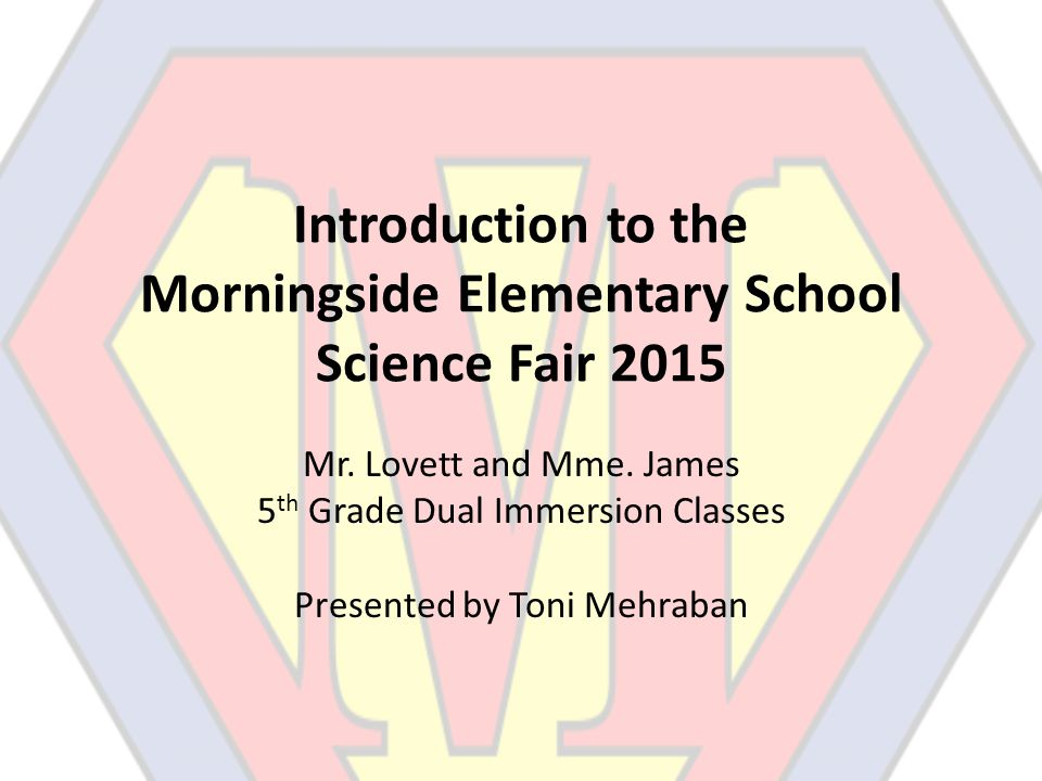 Introduction to the Morningside Elementary School Science Fair 2015 Mr.