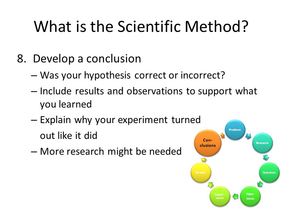 What is the Scientific Method. 8.Develop a conclusion – Was your hypothesis correct or incorrect.