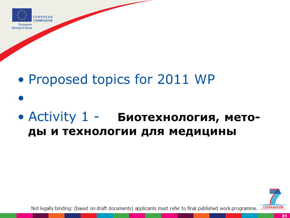Not legally binding: (based on draft documents) applicants must refer to final published work programme. 31 Proposed topics for 2011 WP Activity 1 - Б
