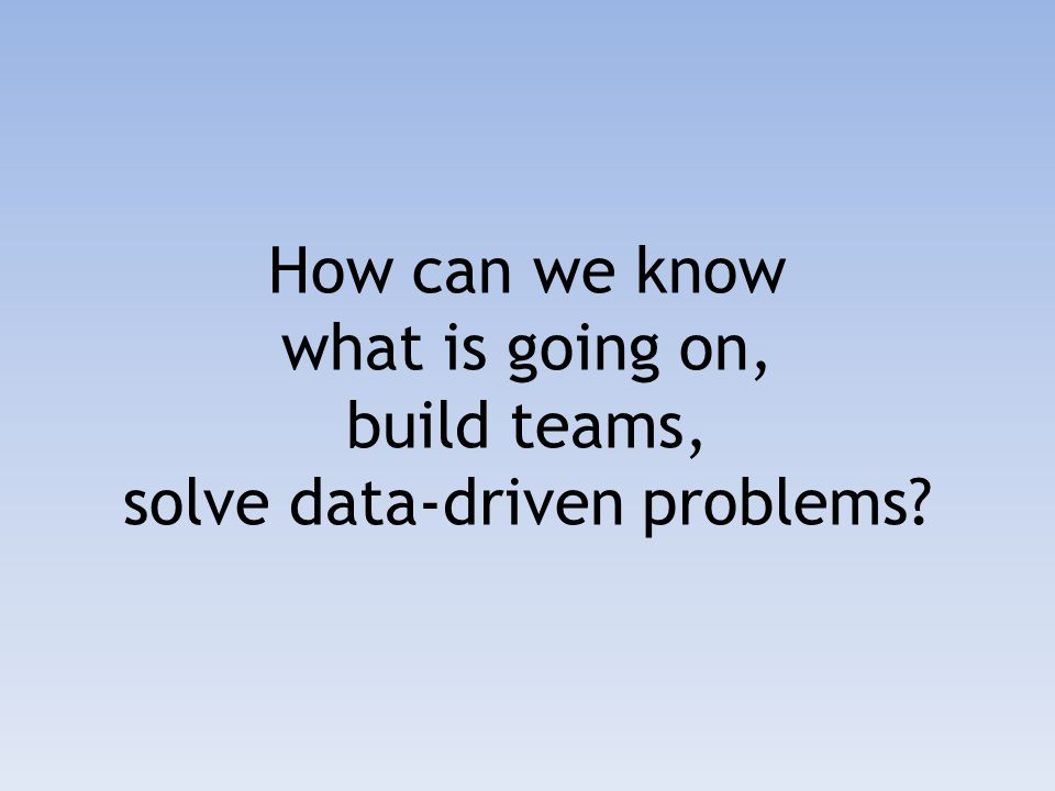 How can we know what is going on, build teams, solve data-driven problems?