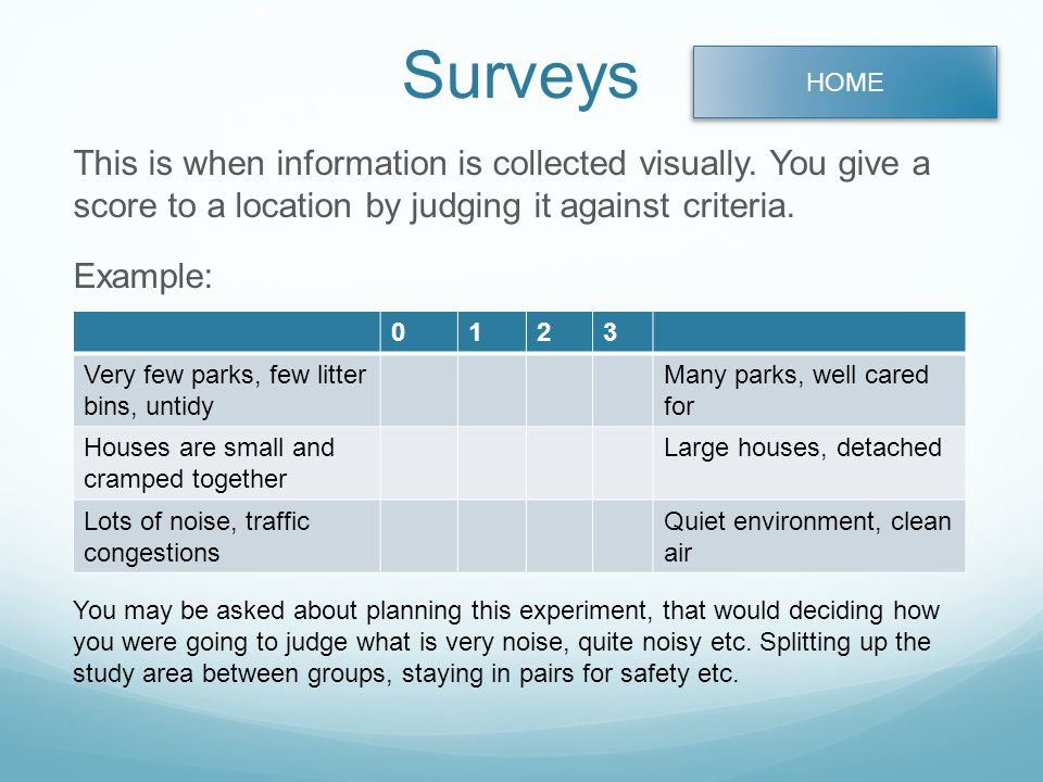 Surveys This is when information is collected visually.