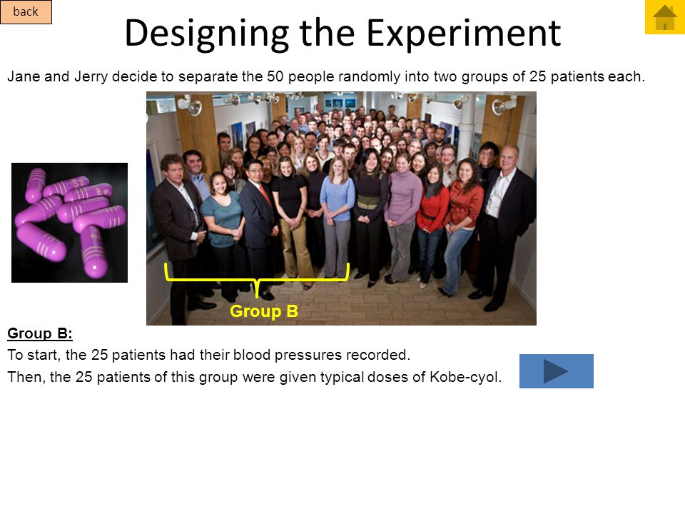 Designing the Experiment Jane and Jerry decide to separate the 50 people randomly into two groups of 25 patients each. back Group B Group B: To start,