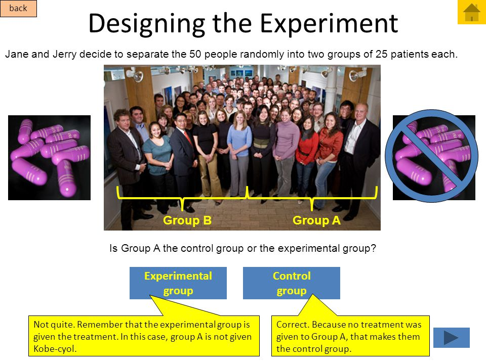 Designing the Experiment Jane and Jerry decide to separate the 50 people randomly into two groups of 25 patients each. Control group Experimental grou